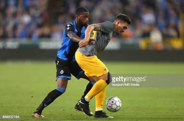 Club Brugge v Aek Athens / Stefano DENSWIL Viktor KLONARIDIS / Football Uefa Europa League 2017 2018 PlayOffs 1st leg / Picture Vincent Van Doornick...