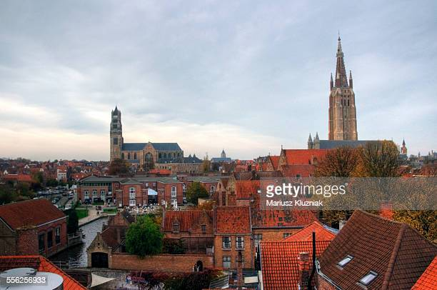 Bruges old town rooftop view of churches