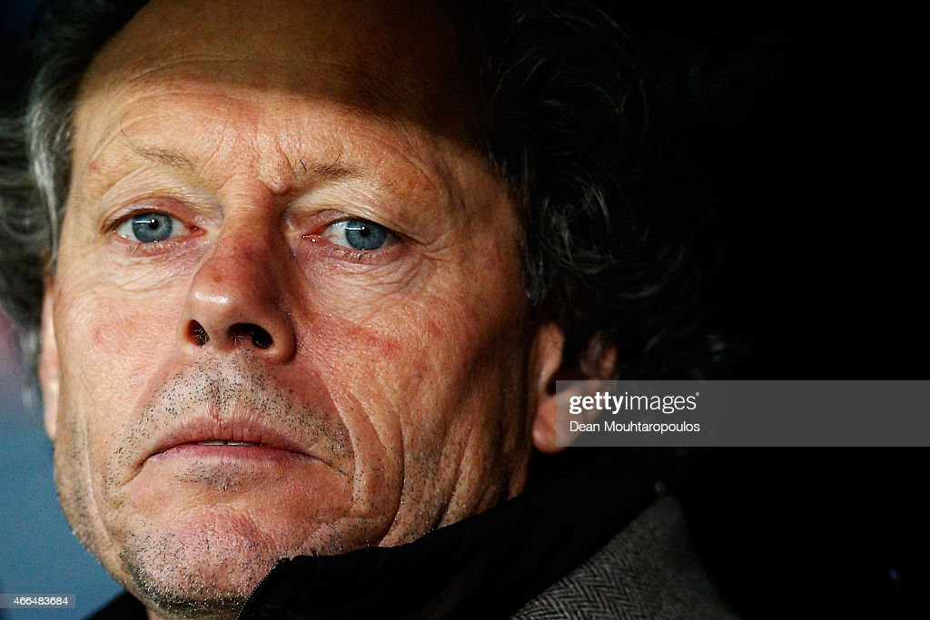 Brugge Head Coach / Manager, <a gi-track='captionPersonalityLinkClicked' href=/galleries/search?phrase=Michel+Preud%27homme&family=editorial&specificpeople=2514028 ng-click='$event.stopPropagation()'>Michel Preud'homme</a> looks on prior to the UEFA Europa League Round of 16 1st leg match between Club Brugge KV and Besiktas JK held at the Jan Breydel Stadium on March 12, 2015 in Brugge, Belgium.