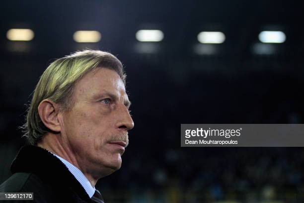 Brugge Manager Christoph Daum looks on during the UEFA Europa League Round of 32 between Club Brugge KV and Hannover 96 at Jan Breydel Stadium on...