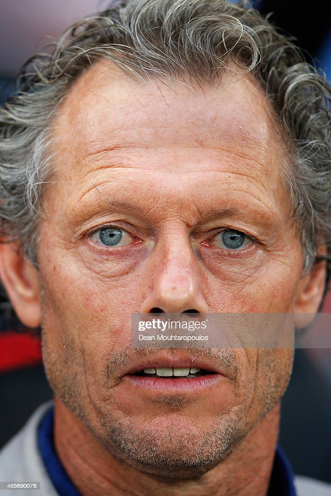 Brugge manager, <a gi-track='captionPersonalityLinkClicked' href=/galleries/search?phrase=Michel+Preud%27homme&family=editorial&specificpeople=2514028 ng-click='$event.stopPropagation()'>Michel Preud'homme</a> looks on during the Group B UEFA Europa League match between Club Brugge KV and Torino FC at the Jan Breydelstadion on September 18, 2014 in Brussels, Belgium.