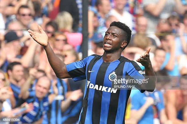 Brugge's Abdoulay Diaby celebrates after scoring the 61 goal during the Jupiler Pro League match between Club Brugge KV and Standard de Liege in...