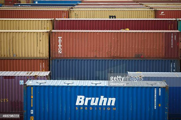 A Bruhn Spedition NV shipping container sits with others on the quayside at the Mediterranean Shipping Co Home Terminal in the Delwaide dock at the...