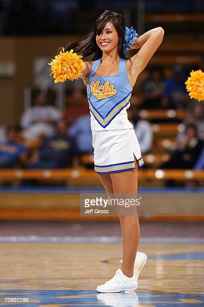 Bruin cheerleader cheers during the NCAA game between the UCLA Bruins and the Cal Poly Pomona Broncos at Pauley Pavilion on November 2 2006 in Los...