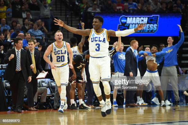 Bruins Bryce Alford celebrates after making a three point shot during the second half of the UCLA Bruins game versus the Cincinnati Bearcats in their...