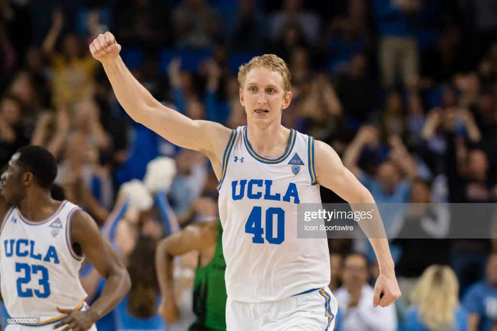 Bruins center Thomas Welsh (40) reacts after hitting a three point shot in the final minutes of regulation during the game between the Oregon Ducks and the UCLA Bruins on February 17, 2018, at Pauley Pavilion in Los Angeles, CA.