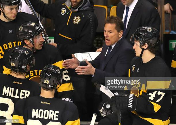 Bruins coach Bruce Cassidy has a talk with his players with 09 sec left in the third period with the Bruins up 32 The Boston Bruins host the New...