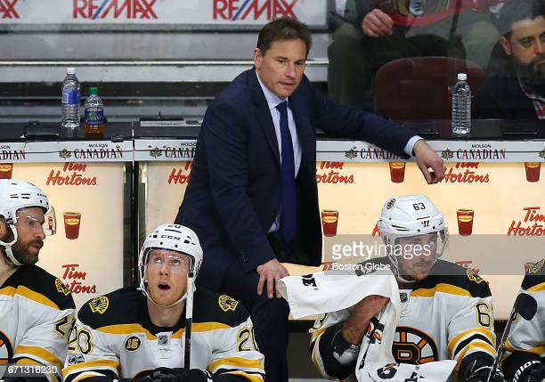 Bruins Coach Bruce Cassidy reacts to a call in the first overtime period The Boston Bruins visit the Ottawa Senators for Game Five of the first round...