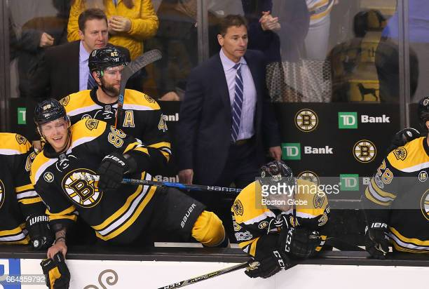 Bruins coach Bruce Cassidy watches the final seconds of the game as the Bruins beat the Lightning 40 The Boston Bruins host the Tampa Bay Lightning...