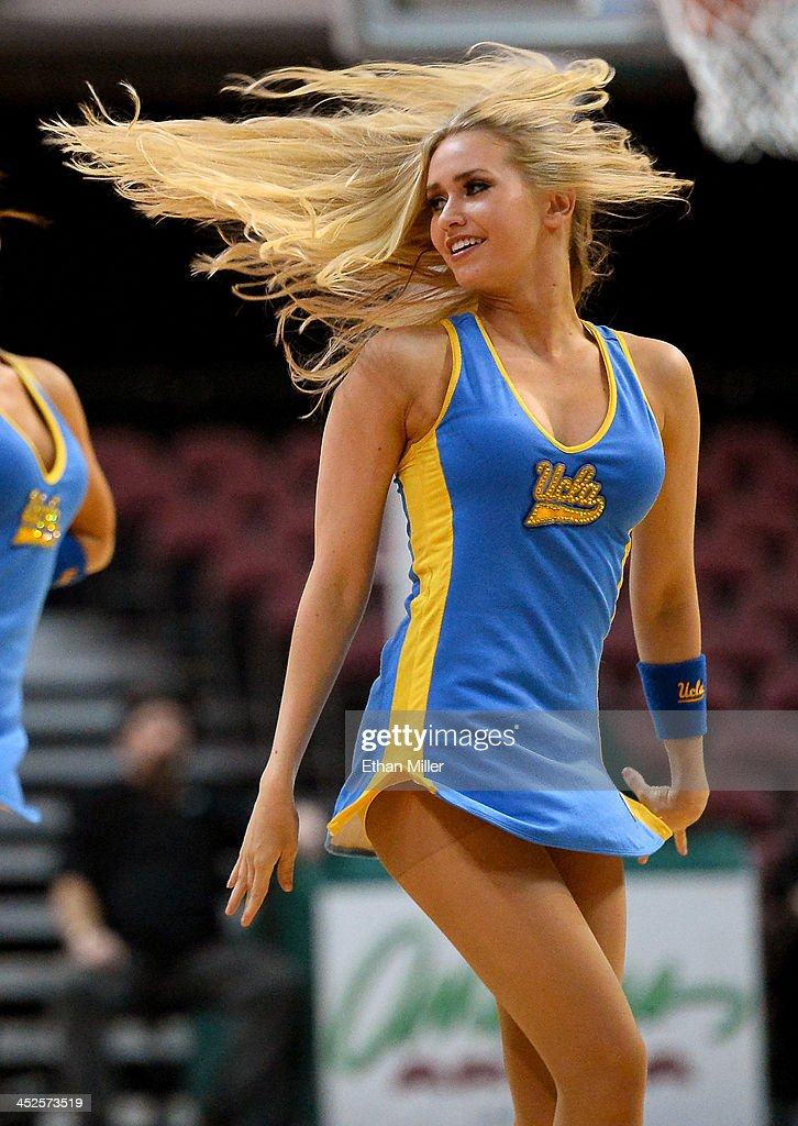 Bruins dance team member MaCall Manor performs during the team's game against the Northwestern Wildcats during the Continental Tire Las Vegas Invitational at the Orleans Arena on November 29, 2013 in Las Vegas, Nevada. UCLA won 95-79.