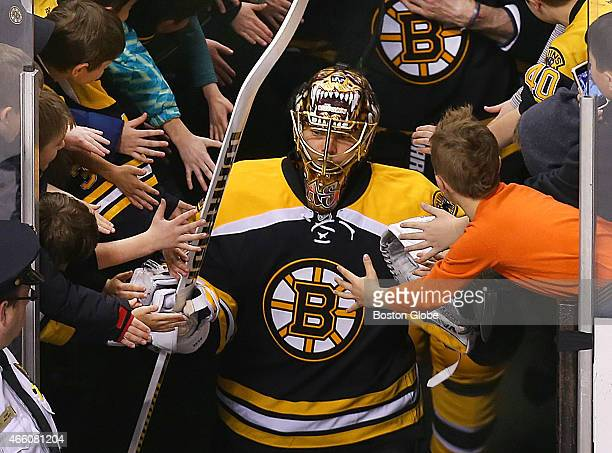 Bruins goalie Tuukka Rask is greeted by fans as he walks onto the ice for pregame warmups Boston Bruins take on Tampa Bay Lightning at TD Garden