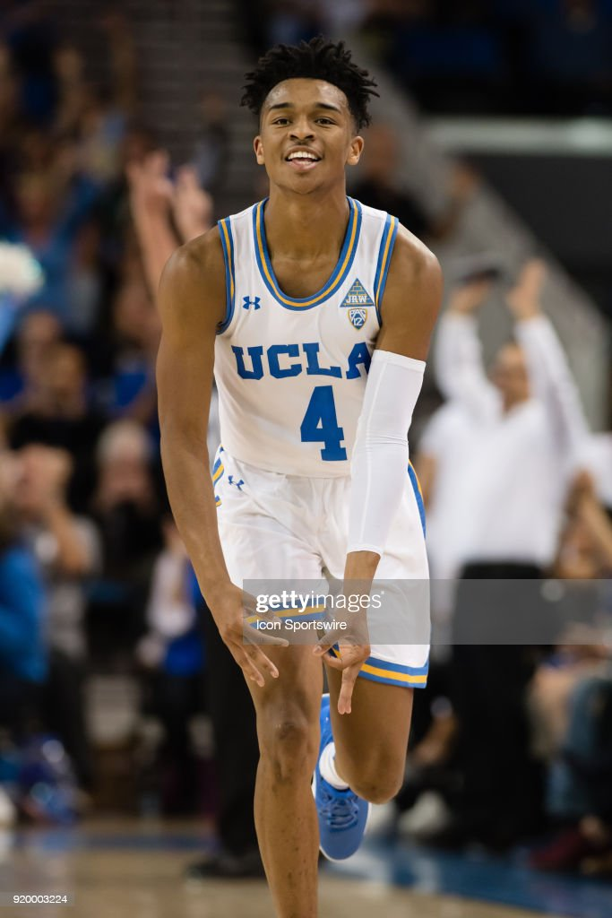 Bruins guard Jaylen Hands (4) celebrates after hitting a three point basket during the game between the Oregon Ducks and the UCLA Bruins on February 17, 2018, at Pauley Pavilion in Los Angeles, CA.