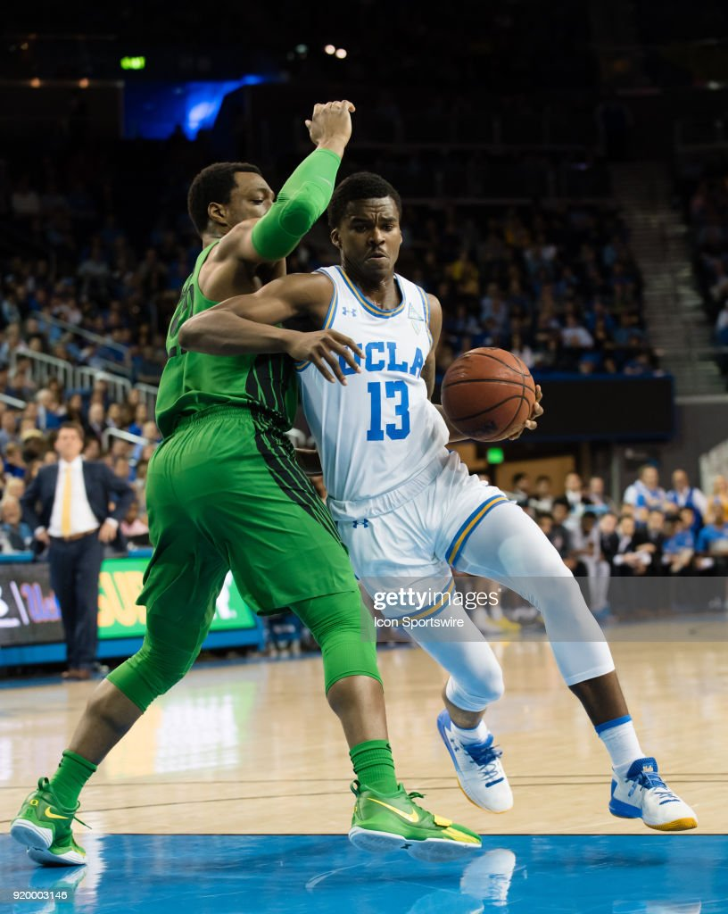 Bruins guard Kris Wilkes (13) drives the ball up the middle to the basket during the game between the Oregon Ducks and the UCLA Bruins on February 17, 2018, at Pauley Pavilion in Los Angeles, CA.