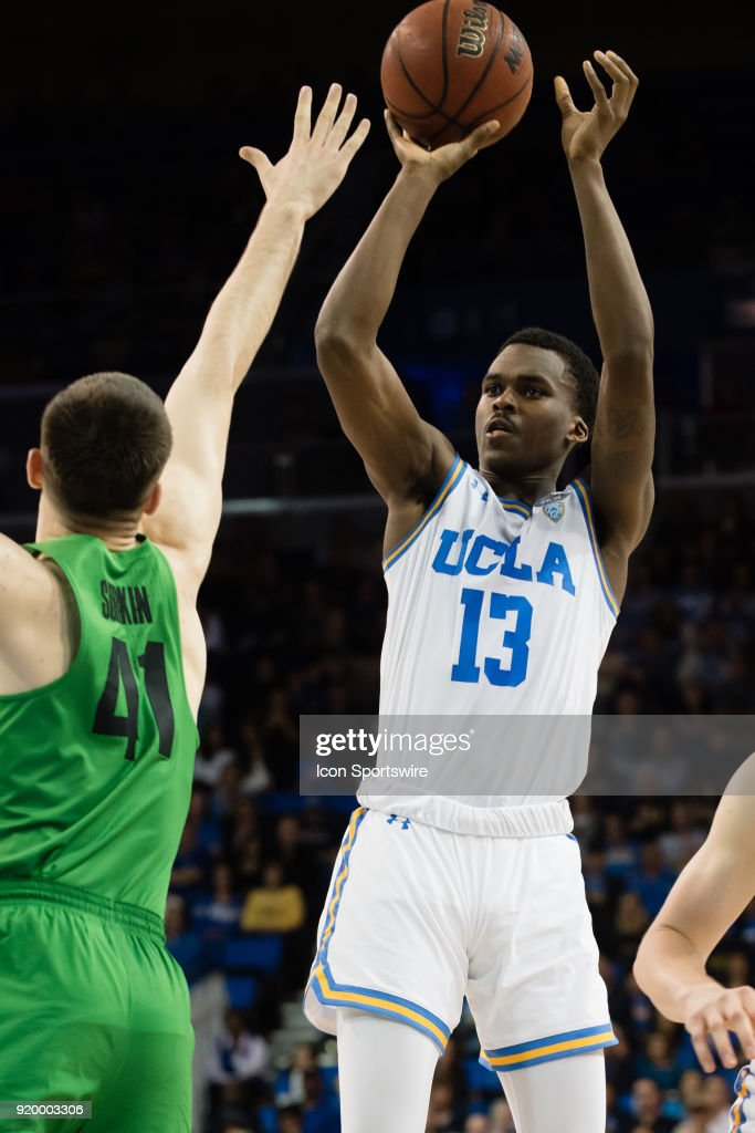 Bruins guard Kris Wilkes (13) shoots a basket during the game between the Oregon Ducks and the UCLA Bruins on February 17, 2018, at Pauley Pavilion in Los Angeles, CA.