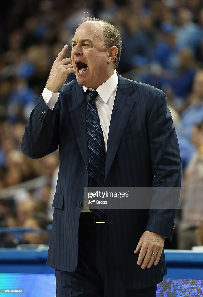 Bruins head coach Ben Howland calls out a play against the USC Trojans in the second half at Pauley Pavilion on January 30, 2013 in Los Angeles, California. USC defeated UCLA 75-71 in overtime.
