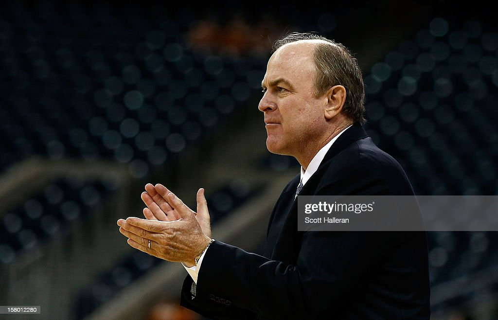 Bruins head coach <a gi-track='captionPersonalityLinkClicked' href=/galleries/search?phrase=Ben+Howland&family=editorial&specificpeople=213373 ng-click='$event.stopPropagation()'>Ben Howland</a> waits on the court during the game against the Texas Longhorns during the MD Anderson Proton Therapy Showcase at Reliant Stadium on December 8, 2012 in Houston, Texas.