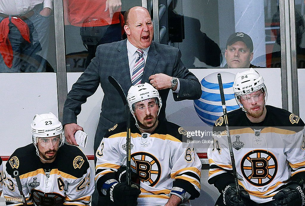 Bruins head coach Claude Julien yells at the referees following Chicago's empty net goal that sealed the Blackhawks victory. The Boston Bruins played the Chicago Blackhawks in Game Five of the Stanley Cup Finals at the United Center, June 22, 2013.