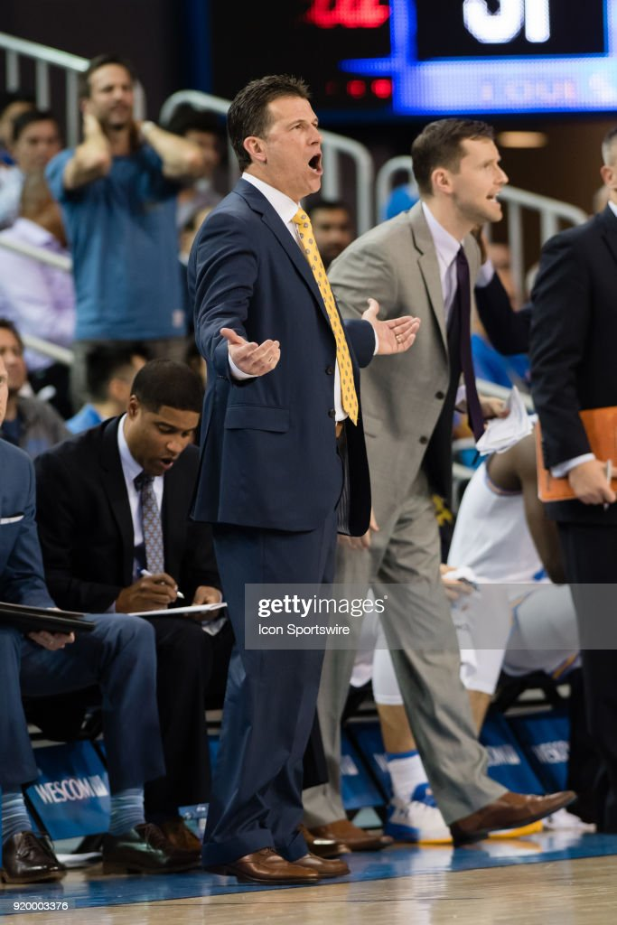 Bruins head coach Steve Alford reacts after a foul call during the game between the Oregon Ducks and the UCLA Bruins on February 17, 2018, at Pauley Pavilion in Los Angeles, CA.