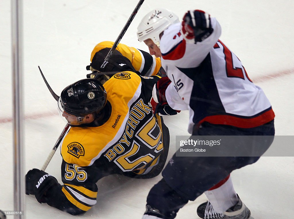 Bruins Johnny Boychuk was tripped in the third period by Capitals Jason Chimera who received a penalty. The Boston Bruins and Washington Capitals met for game seven of the Stanley Cup Eastern Conference quarterfinals at TD Garden.