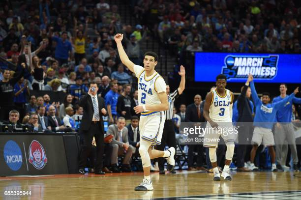 Bruins Lonzo Ball celebrates after making a three point shot during the second half of the UCLA Bruins game versus the Cincinnati Bearcats in their...