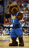 Bruins mascot Joe Bruin performs during a semifinal game of the Pac12 Basketball Tournament against the Arizona Wildcats at the MGM Grand Garden...