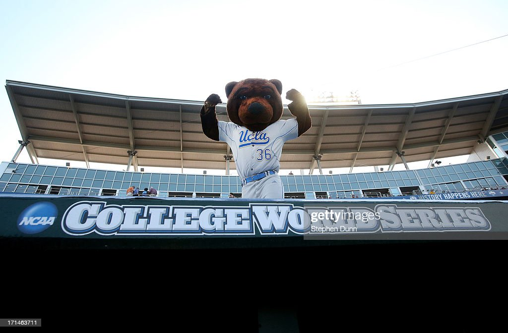 Bruins mascot Joe Bruin performs on the dugout before the game against the Mississippi State Bulldogs during game one of the College World Series Finals on June 24, 2013 at TD Ameritrade Park in Omaha, Nebraska. UCLA won 3-1.