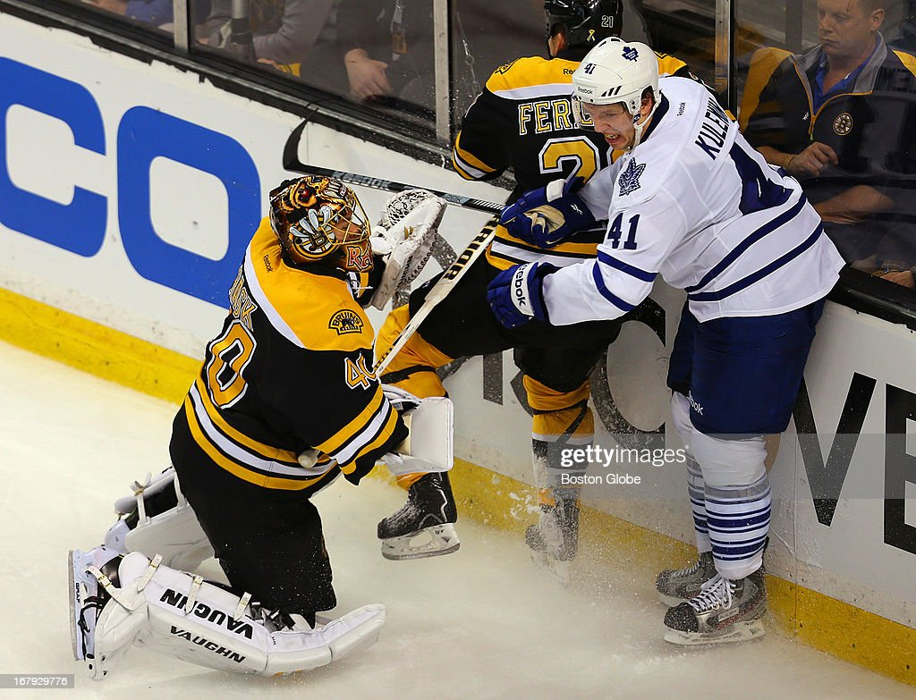 Bruins Tuukka Rask is way out of his net in the second period as he tried to swipe at a loose puck and ended up jousting with Toronto's Nikolai Kulemin. Bruins Andrew Ference assisted. The Boston Bruins host the Toronto Maple Leafs in the first game of the Eastern Conference quarterfinals at TD Garden.