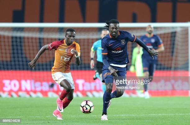 Bruma of Galatasaray in action against Emmanuel Adebayor of Medipol Basaksehir during the Turkish Spor Toto Super Lig football match between Medipol...