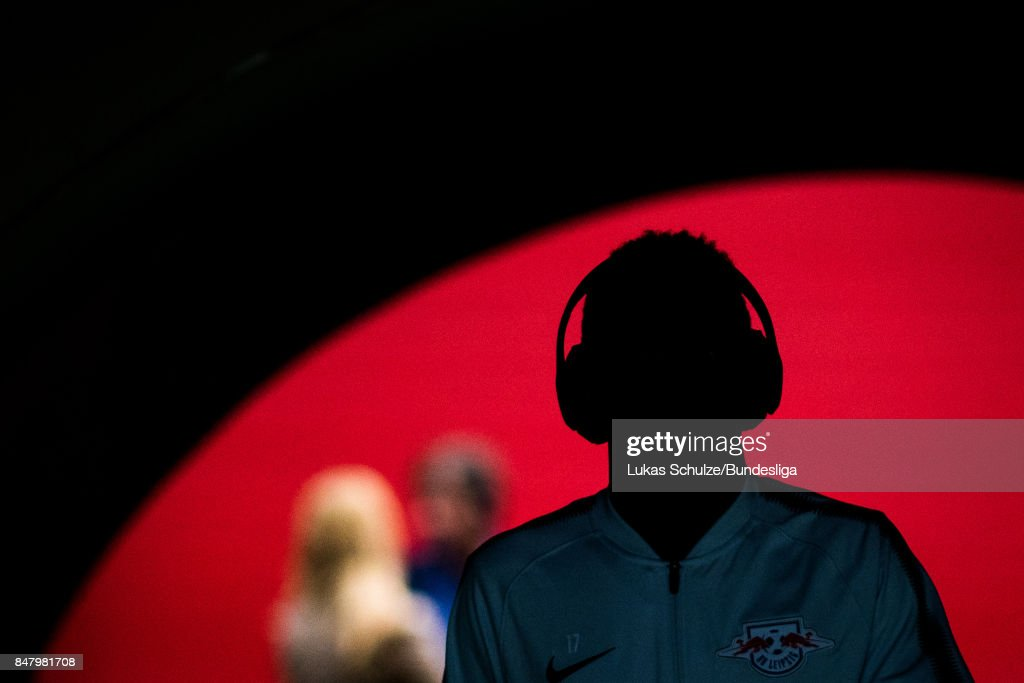 Bruma of Leipzig arrives in the player tunnel prior to the Bundesliga match between RB Leipzig and Borussia Moenchengladbach at Red Bull Arena on September 16, 2017 in Leipzig, Germany.