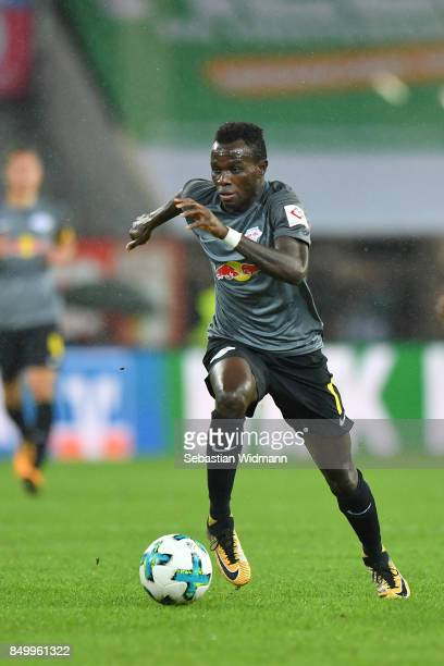 Bruma of Leipzig plays the ball during the Bundesliga match between FC Augsburg and RB Leipzig at WWKArena on September 19 2017 in Augsburg Germany