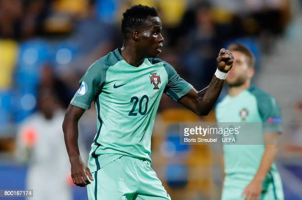 Bruma of Portugal celebrates after scoring his team's second goal during the UEFA European Under21 Championship Group B match between Macedonia and...