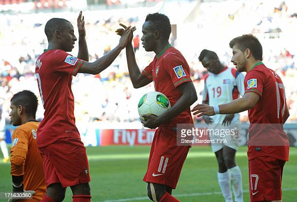 Bruma of Portugal celebrates scoring a goal with teammates Ricardo and To Ze during the FIFA U20 World Cup Group B match between Portugal and Cuba at...