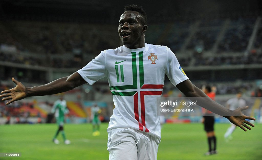 Bruma of Portugal celebrates scoring the opening goal during the FIFA U20 World Cup Group B match between Nigeria and Portugal at Kadir Has Stadium...