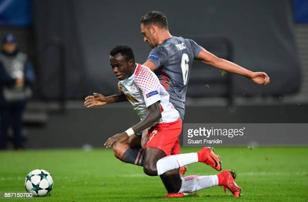 Bruma of RB Leipzig and Dusko Tosic of Besiktas in action during the UEFA Champions League group G match between RB Leipzig and Besiktas at Red Bull...
