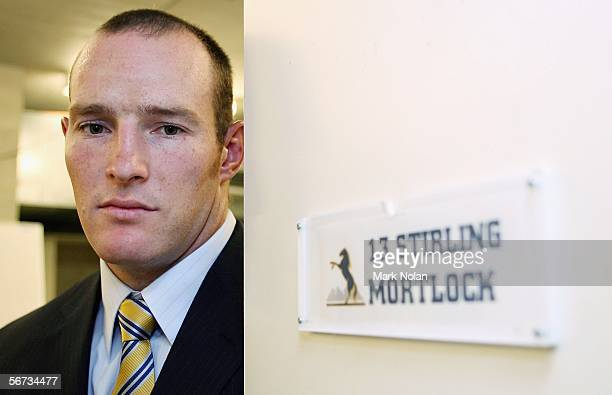 Brumbies captain Stirling Mortlock poses by his locker during the Brumbies Season Launch held at Canberra Stadium on February 3 2006 in Canberra...
