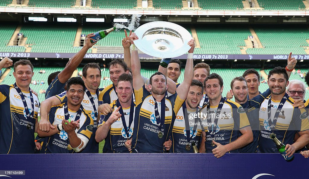 Brumbies celebrate after defeating Auckland to win the World Club 7's Cup during the World Club 7's at Twickenham Stadium on August 18, 2013 in London, England.