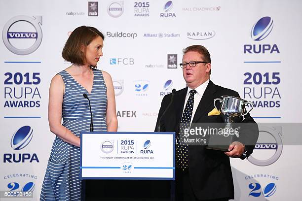 Brumbies CEO Michael Jones accepts the People's Choice Player of the Year Award on behalf of David Pocock during the 2015 Rugby Unions Players...