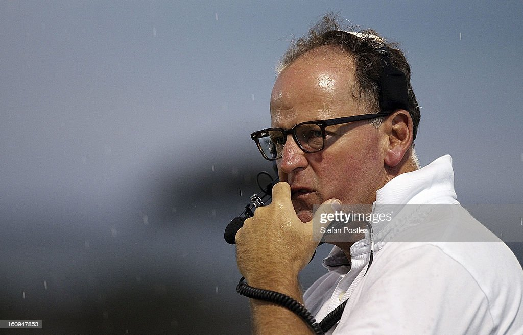 Brumbies coach Jake White watches on during the Super Rugby trial match between the Brumbies and the ACT XV at Viking Park on February 8, 2013 in Canberra, Australia.