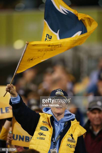 Brumbies fan shows their support during the round five Super Rugby match between the Brumbies and the Highlanders at GIO Stadium on March 25 2017 in...