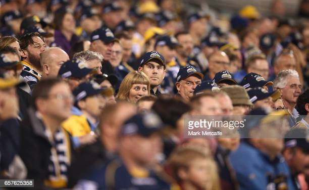 Brumbies fans look on during the round five Super Rugby match between the Brumbies and the Highlanders at GIO Stadium on March 25 2017 in Canberra...