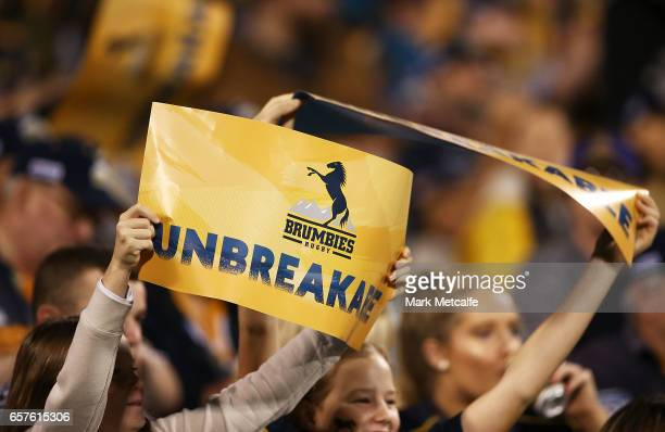 Brumbies fans show their support during the round five Super Rugby match between the Brumbies and the Highlanders at GIO Stadium on March 25 2017 in...
