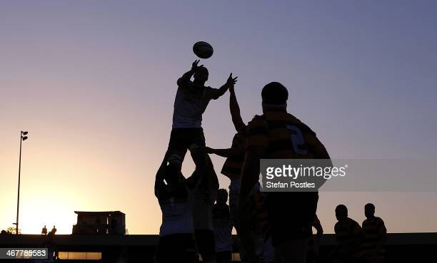 Brumbies win a line out during the Super Rugby trial match between the Brumbies and the ACT XV at Viking Park on February 8 2014 in Canberra Australia