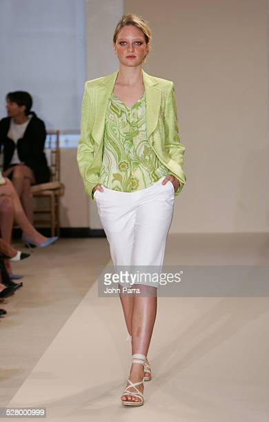 Bruna Erhardt wearing Ellen Tracy Spring 2006 during Olympus Fashion Week Spring 2006 Ellen Tracy Runway at 575 Seventh Avenue in New York City New...