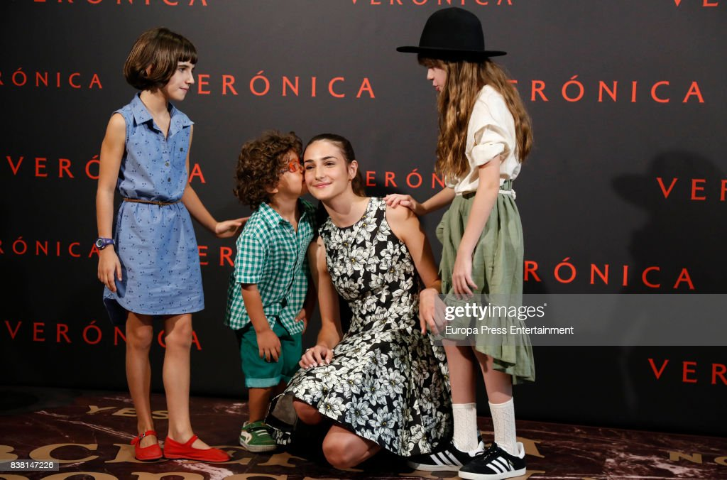 Bruna Gonzalez, Ivan Chavero, Sandra Escacena and Claudia Placer attend 'Veronica' photocall on August 23, 2017 in Madrid, Spain.