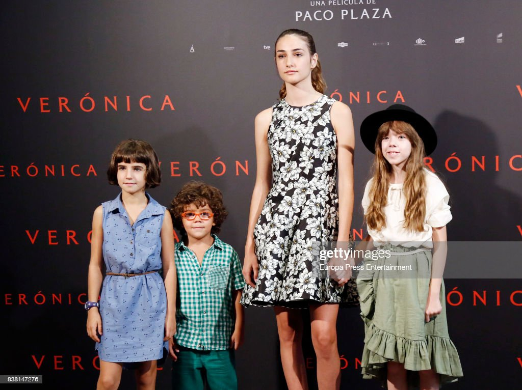 Bruna Gonzalez, Ivan Chavero, Sandra Escacena and Claudia Placer attend a photocall for the film 'Veronica' at the Sony offices on August 23, 2017 in Madrid, Spain.
