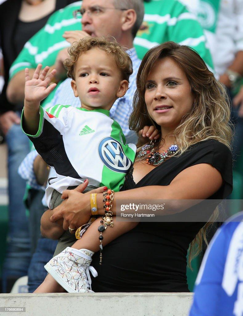 Bruna Leticia Ribas da Cunha, wife of Diego of Wolfsburg prior to the Bundesliga match between VfL Wolfsburg and FC Schalke 04 at Volkswagen Arena on August 17, 2013 in Wolfsburg, Germany.