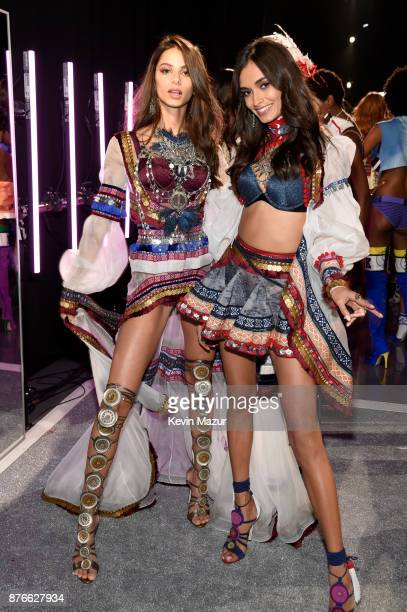 Bruna Lirio and Gizele Oliveira pose backstage during 2017 Victoria's Secret Fashion Show In Shanghai at MercedesBenz Arena on November 20 2017 in...