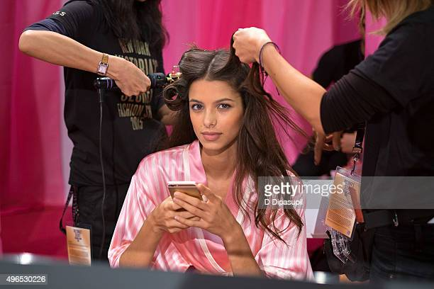 Bruna Lirio is seen backstage at the 2015 Victoria's Secret Fashion Show at the Lexington Armory on November 10 2015 in New York City