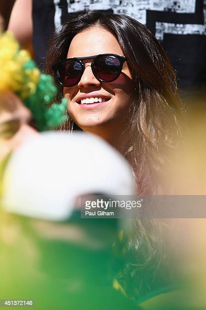 Bruna Marquezine girlfriend of Neymar of Brazil smiles prior to the 2014 FIFA World Cup Brazil round of 16 match between Brazil and Chile at Estadio...