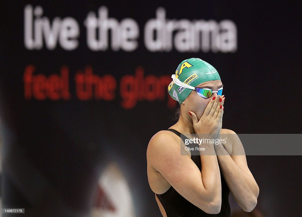 Bruna Rocha of Brazil prepares to compete in the Women's 50m Freestyle Heat 5 during day seven of the British Gas Swimming Championships at The...